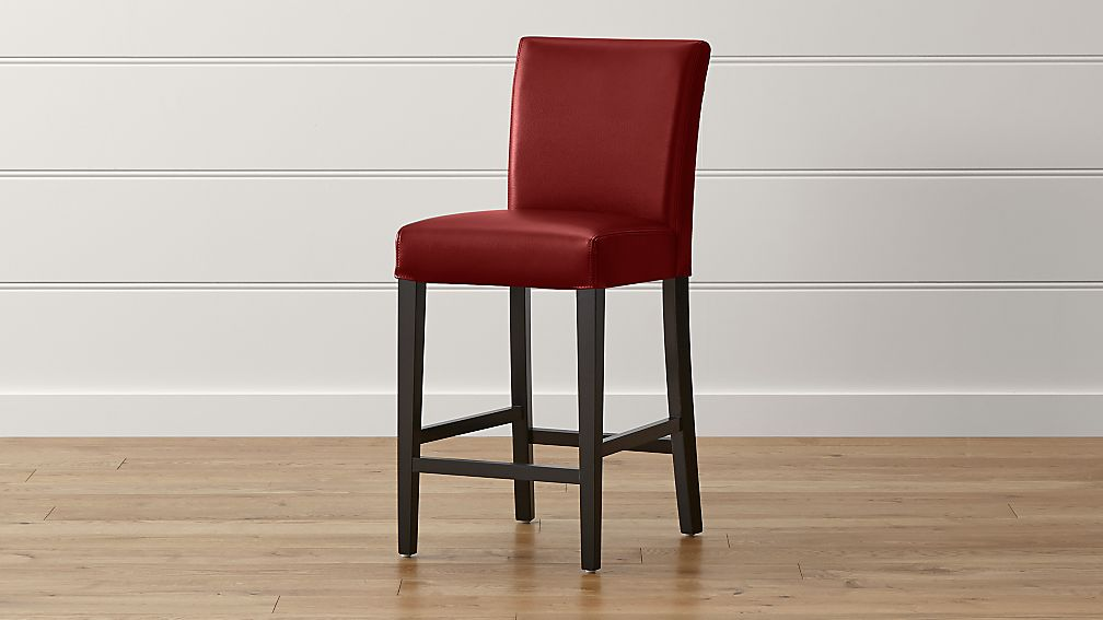 Lowe Red Leather Counter Stool Reviews Crate And Barrel