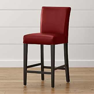 Charmant Lowe Red Leather Counter Stool