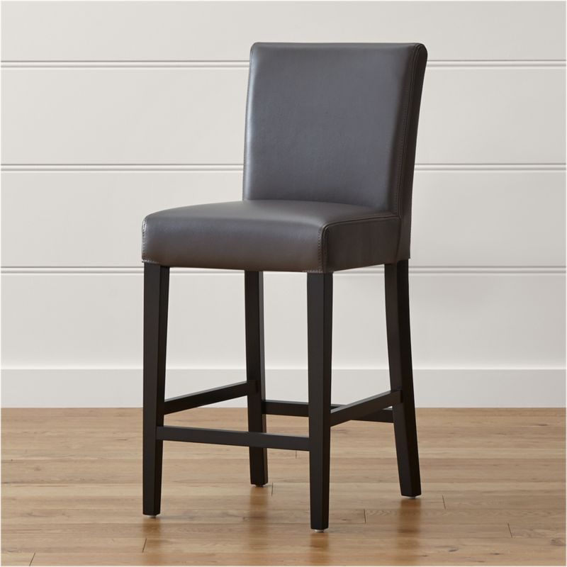 Lowe Smoke Leather Counter Stool Reviews Crate And Barrel