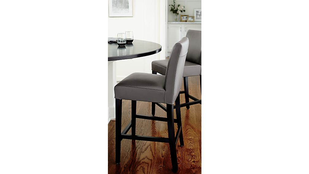 Lowe Smoke Leather Bar Stools Crate And Barrel