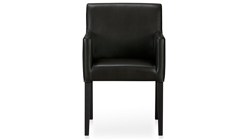 Dining Arm Chairs Black lowe onyx leather dining arm chair | crate and barrel