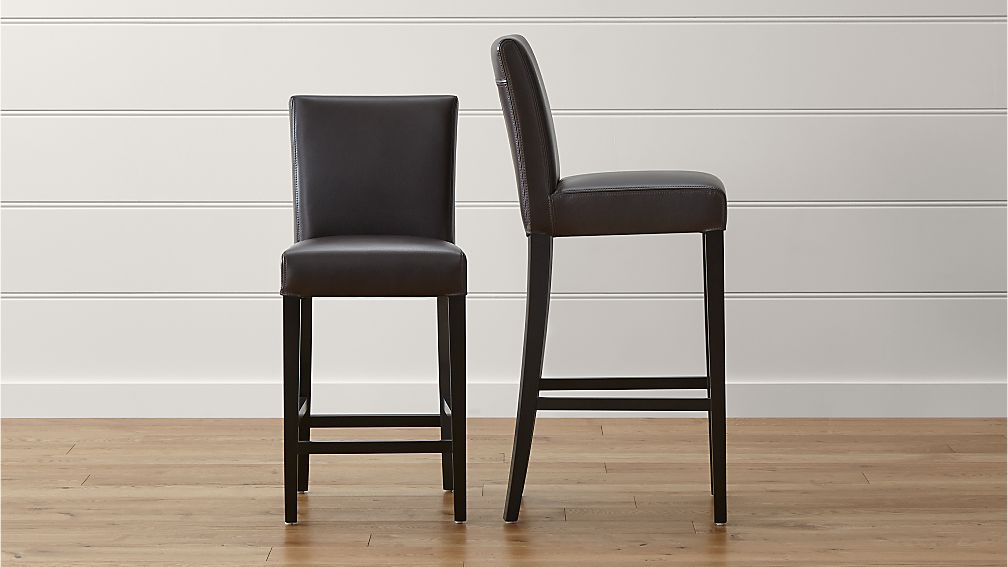 & Lowe Chocolate Leather Bar Stools | Crate and Barrel islam-shia.org