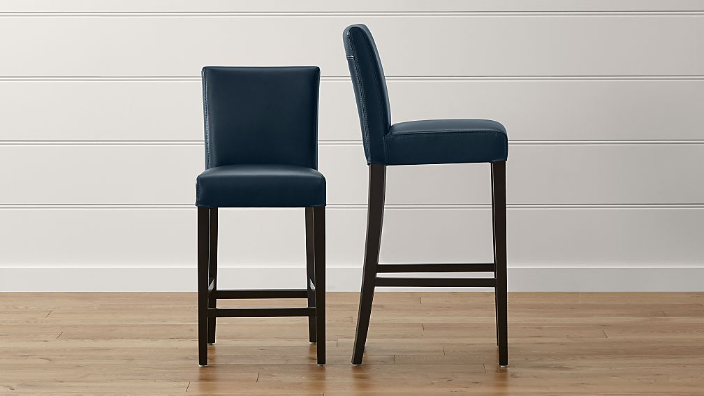 Lowe Navy Leather Bar Stools - Image 1 of 5