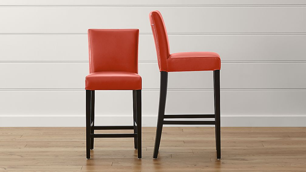 Lowe Persimmon Leather Bar Stools - Image 1 of 6