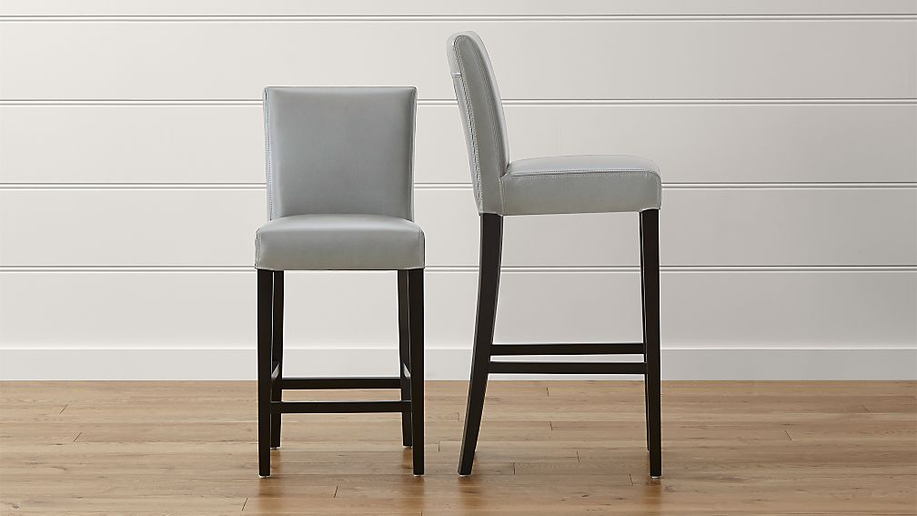 Lowe Pewter Leather Bar Stools Crate And Barrel