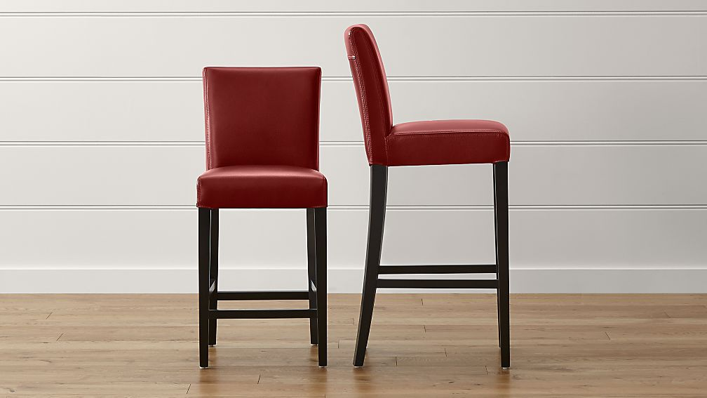 Lowe Red Leather Bar Stools - Image 1 of 6