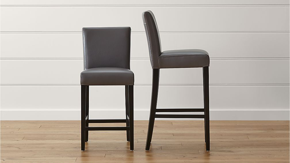 Lowe Smoke Leather Bar Stools - Image 1 of 9