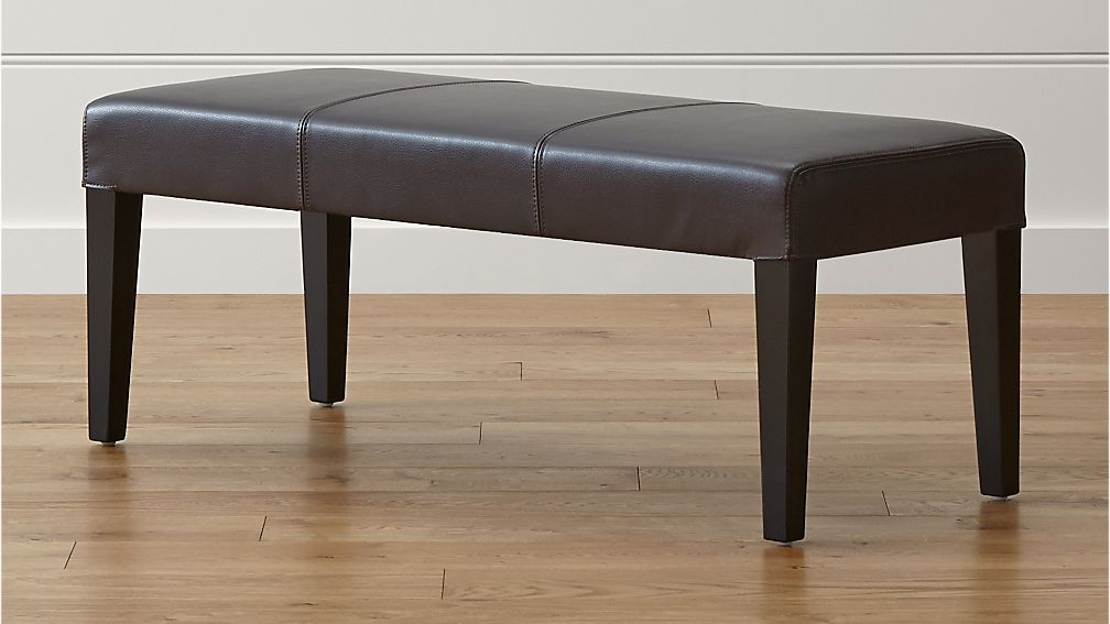 Lowe Chocolate Leather Backless Bench - Image 1 of 5