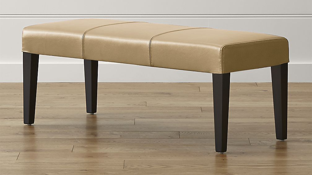 Lowe Café Latte Leather Backless Bench - Image 1 of 5