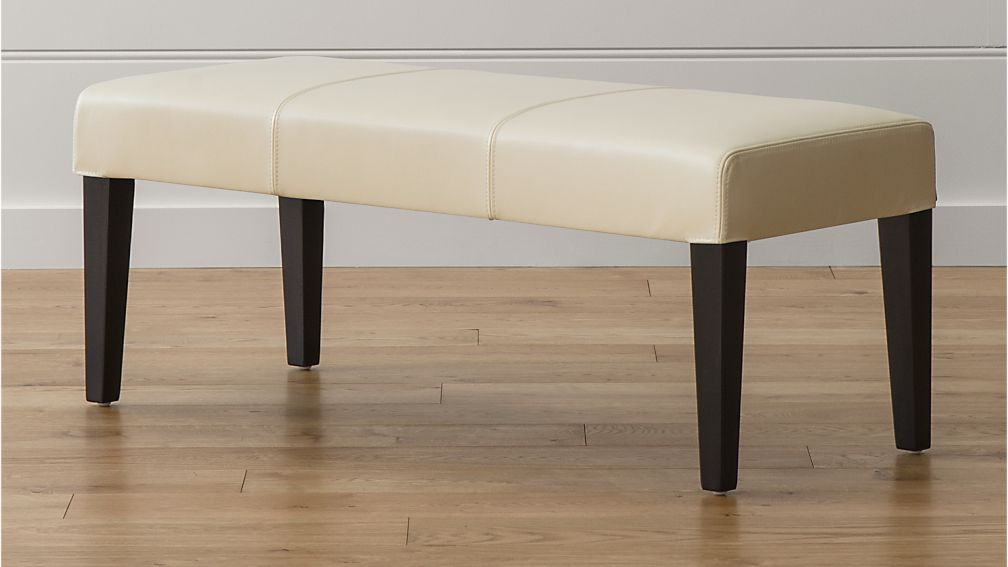 Lowe Ivory Leather Backless Bench