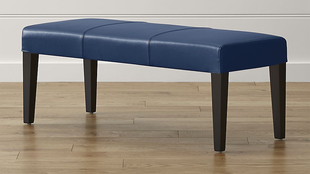 Lowe Navy Leather Backless Bench - Image 1 of 5