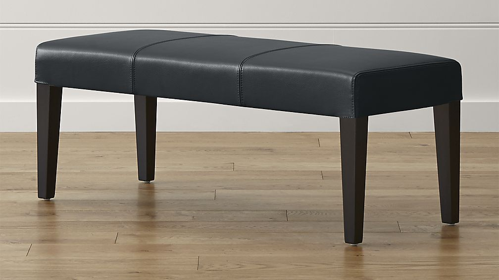 Lowe Onyx Leather Backless Bench - Image 1 of 5