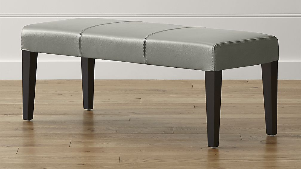 Lowe Pewter Leather Backless Bench - Image 1 of 5