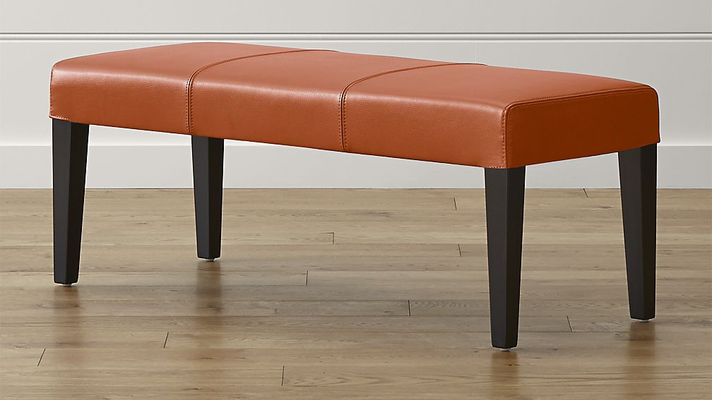 Lowe Persimmon Leather Backless Bench - Image 1 of 5
