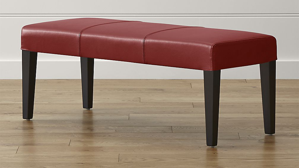 Lowe Red Leather Backless Bench - Image 1 of 5