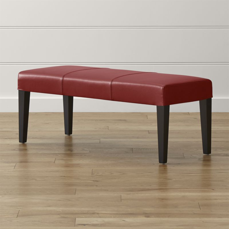 Lowe Red Leather Backless Bench Reviews Crate And Barrel