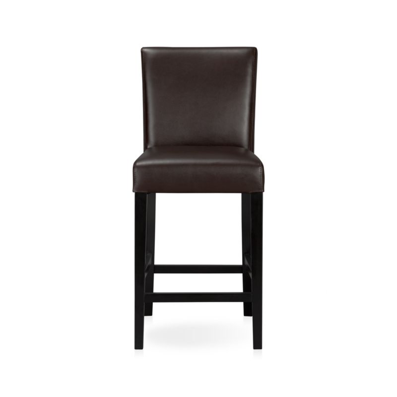 Lowe Chocolate Leather Bar Stools Crate and Barrel