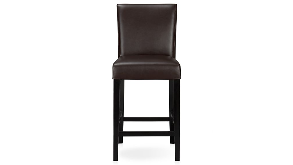 ... Lowe Chocolate Leather Bar Stool ...  sc 1 st  Crate and Barrel : black leather bar stools with backs - islam-shia.org