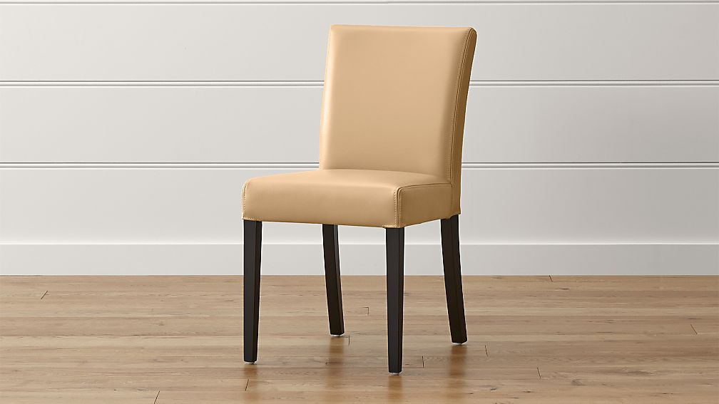 lowe café latte leather dining chair | crate and barrel