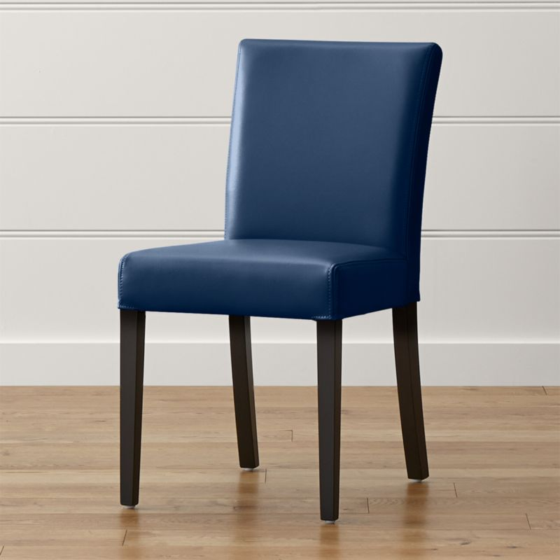 Lowe Navy Leather Dining Chair Reviews Crate And Barrel