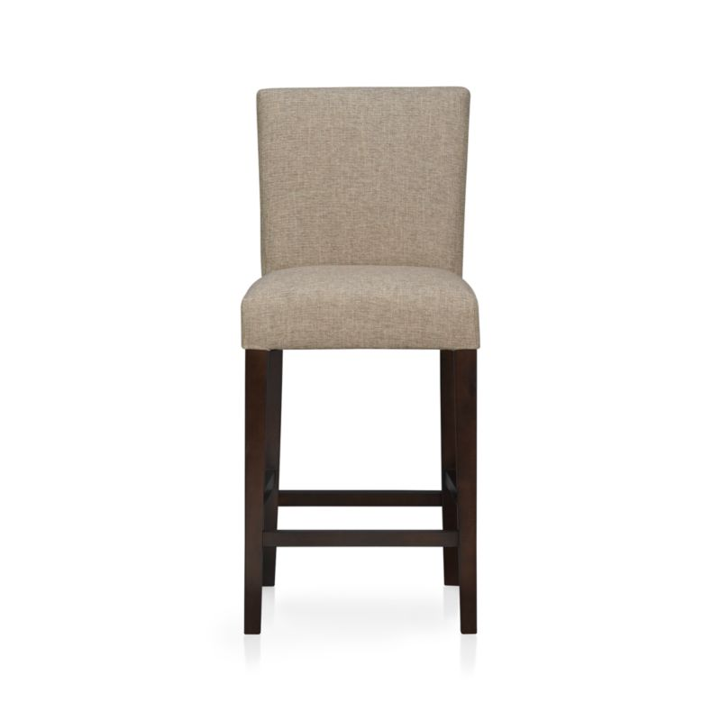 "The style is classic Parsons. The colors are both fashion-forward and classic. The look is bold and modern in finely textured tonal khaki weave. Generous seat makes for comfortable seating at a high dining table or kitchen bar. Crafted of solid birch with legs stained a rich chocolate.<br /><br /><NEWTAG/><ul><li>Solid birch and low-emission engineered wood</li><li>Web suspension</li><li>100% polyester</li><li>Designed and tested for use in commercial spaces such as offices, restaurants and hotels</li><li>24""H seat sized for counters</li><li>Made in China</li></ul>"