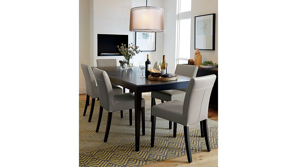 Lowe Pewter Leather Dining Chair | Crate and Barrel
