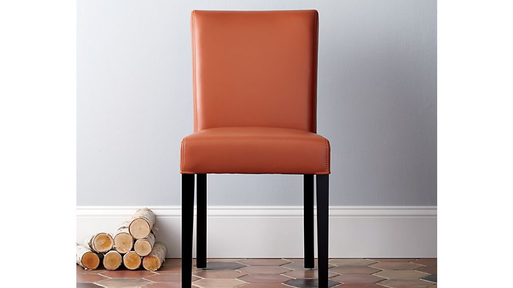 Lowe Persimmon Leather Dining Chair Crate And Barrel - Crate and barrel leather dining chair