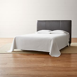 Lowe Smoke Grey Leather Queen Headboard