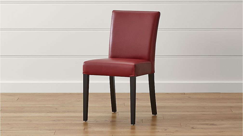 Lowe Red Leather Dining Chair | Crate and Barrel