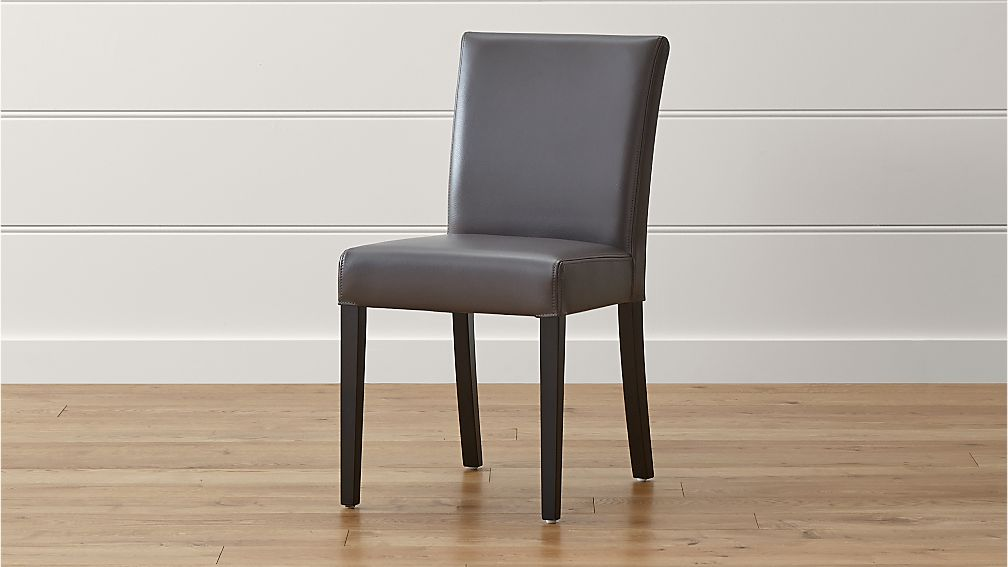 Lowe Smoke Leather Dining Chair | Crate and Barrel