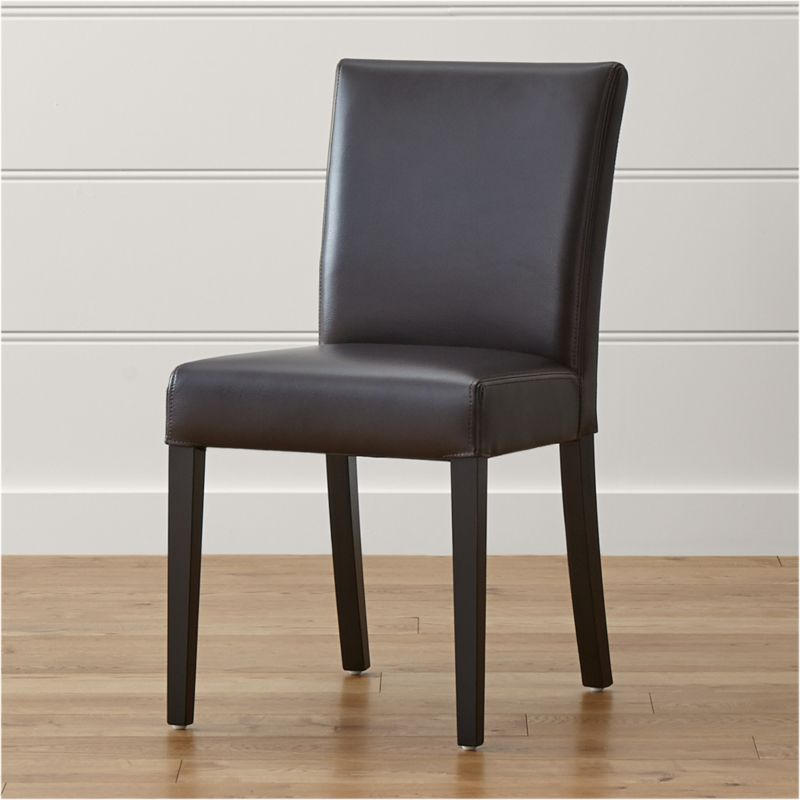 Dining Chairs Brown lowe chocolate leather dining chair | crate and barrel