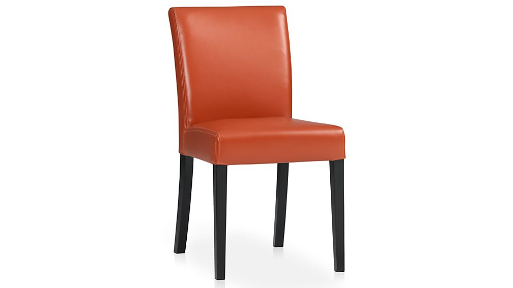 lowe persimmon leather dining chair | crate and barrel