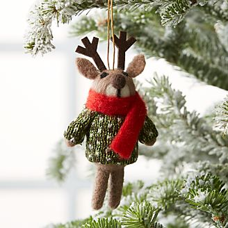 light brown reindeer ornament with sweater - Animal Christmas Decorations