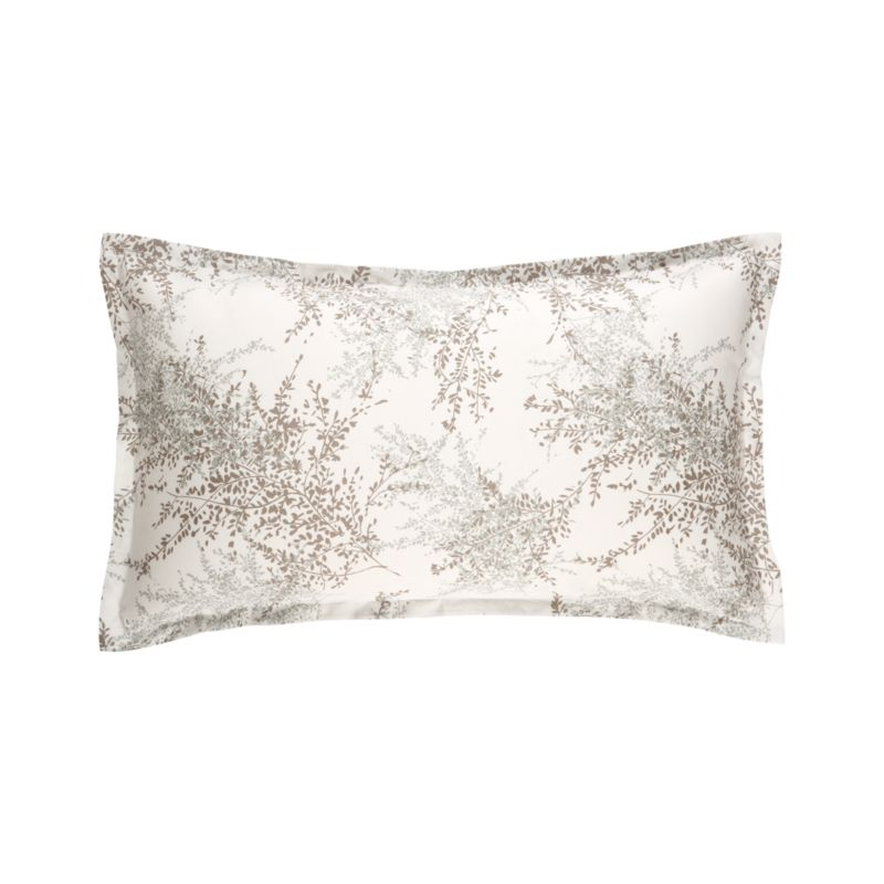 """Master Italian printers conjure a realistic trompe l'oeil of hypnotic botanicals in sea glass and mink on soft ivory cotton. Shams have a 1"""" flange and overlapping closures on the reverse. Bed pillows also available.<br /><br /><NEWTAG/><ul><li>100% cotton</li><li>300-thread-count</li><li>Pigment-printed on dyed ground</li><li>Machine wash cold</li><li>Made in Italy</li></ul>"""