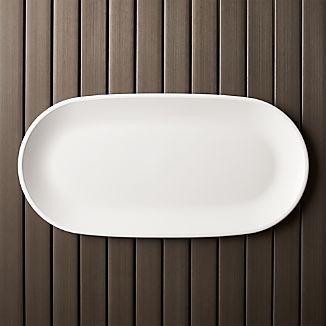 """Lunea Melamine White 19""""x9.5"""" Long Serving Platter"""