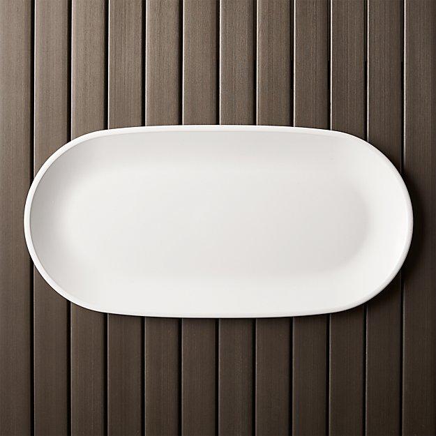 lunea melamine white 19 x9 5 serving platter in dinnerware
