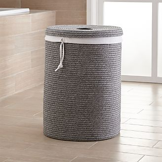 Lupe Grey Braided Hamper With Liner