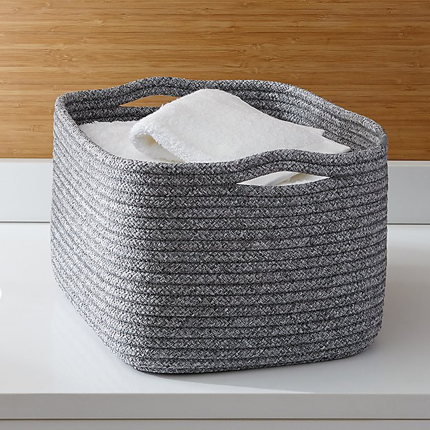 Lupe Grey Large Braided Basket Reviews Crate And Barrel
