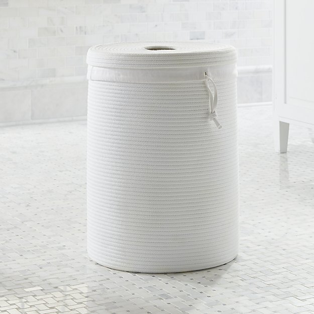 Lupe White Braided Hamper with Liner - Image 1 of 2