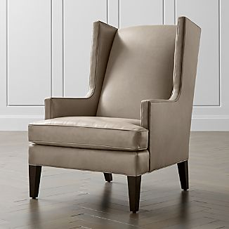 luxe leather high wing back chair - Leather Wingback Chair