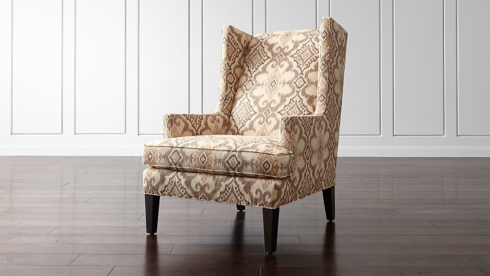 Luxe Wingback Ikat Chair Reviews Crate And Barrel