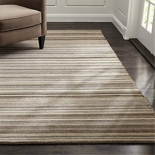 Lynx Grey Striped Hand Knotted Wool Rug