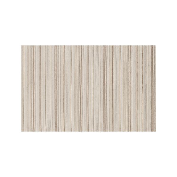 Lynx Natural Striped Hand Knotted Wool 5'x8' Rug