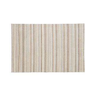 Lynx Natural Striped Hand Knotted Wool 6'x9' Rug