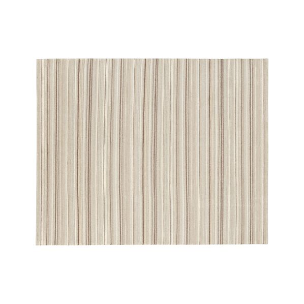 Lynx Natural Striped Hand Knotted Wool 8'x10' Rug
