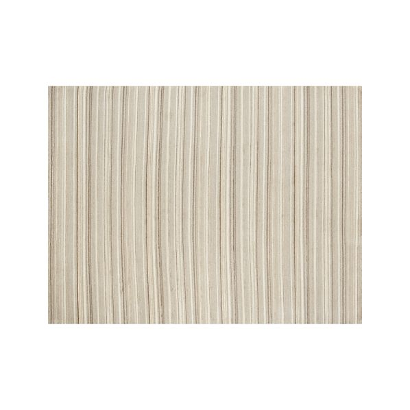 Lynx Natural Striped Hand Knotted Wool 9'x12' Rug