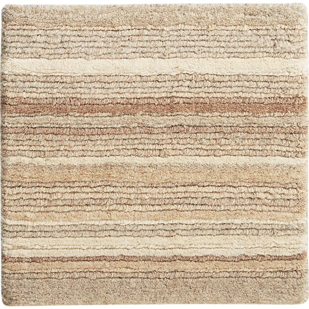 "Lynx Natural Striped Hand Knotted Wool Rug 12"" sq. Rug Swatch"
