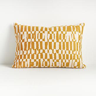 """Lyra Yellow and White Pillow 22""""x15"""""""