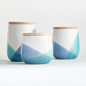 Maci Ceramic Canisters with Wood Lid