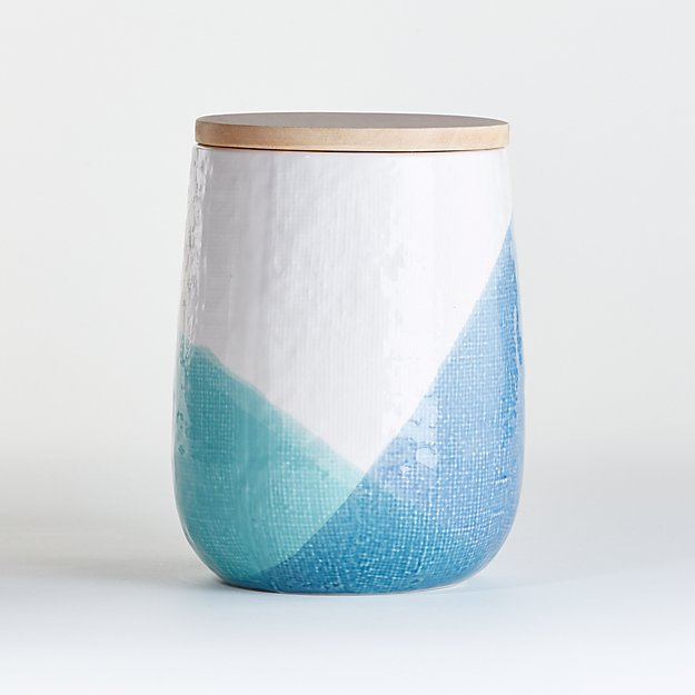 Maci Large Ceramic Canister with Wood Lid - Image 1 of 3